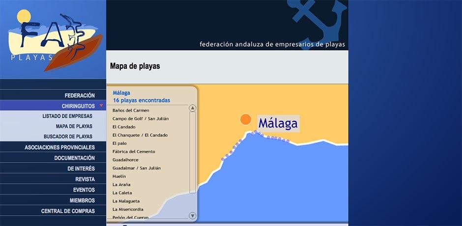 Mapa buscador empresa y playas Malaga
