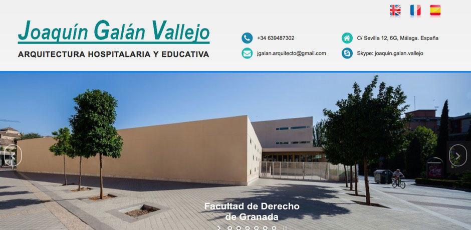 landing page para joaquin galan - arquitectura hospitalaria y educativa